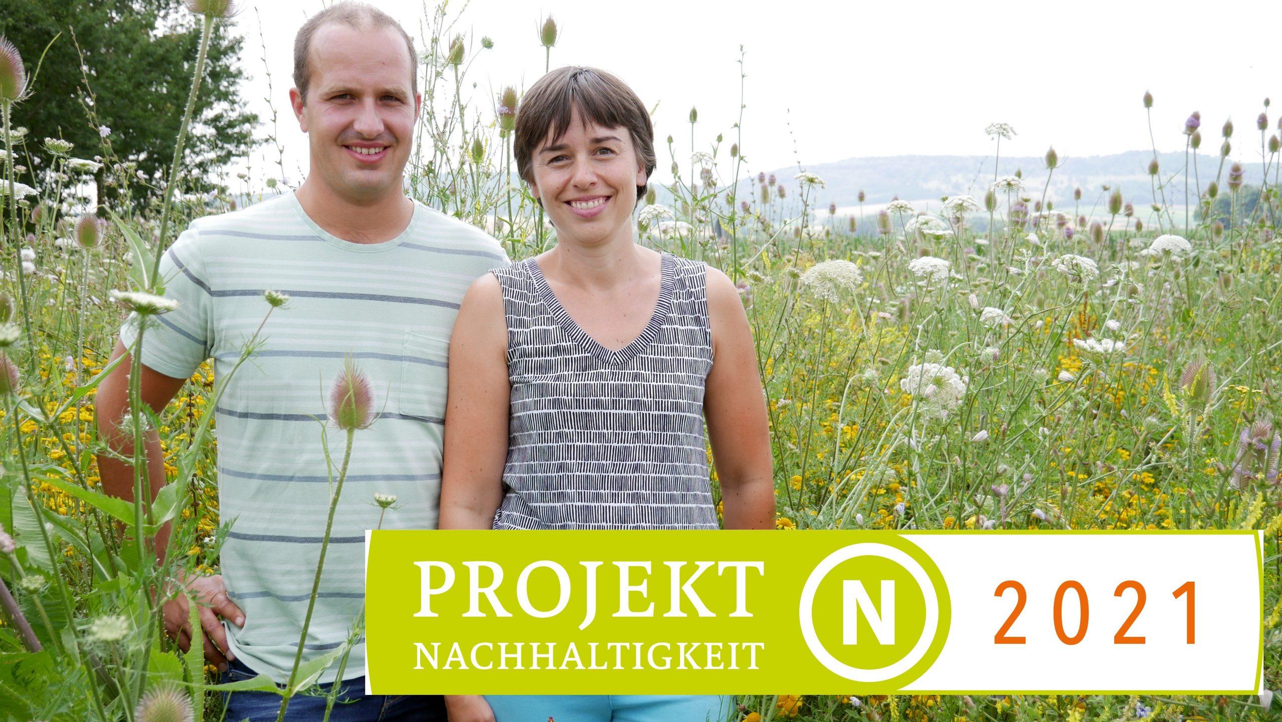 Martin und Nina Busch (Landwirte und Projekt-Teilnehmer aus Dambach), © N-ERGIE, Foto: Michael Enderlein