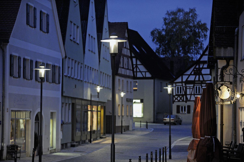 Die Straßenbeleuchtung in Hilpoltstein.